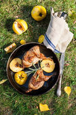 Roasted quails with quince — Stock Photo