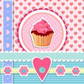 Valentins Day card with cupcake — Stock Vector