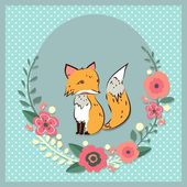 Frame with cute fox and flowers — Stock Vector