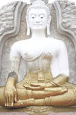 White and golden Buddha image, Thailand — Stock Photo