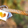 Padlock for love The closed white padlock with heart — Stock Photo #66856993