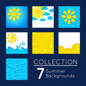 Collection of 7 summer backgrounds. — Stock Vector