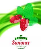 Strawberry on shining summer background — Stock Vector