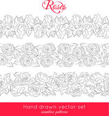 Pattern with hand drawn roses on white background. — Stock Vector