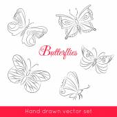 Hand drawn set of butterflies — Stock Vector