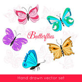 Hand drawn set of colored butterflies — Stock Vector
