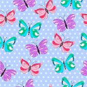 Colorful seamless pattern with butterflies — Vector de stock