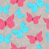 Colorful seamless pattern with butterflies — Stockvektor