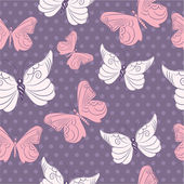Colorful seamless pattern with butterflies — Stock Vector