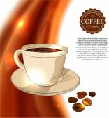 Shining coffee background with hand drawn cup of coffee, — Stock Vector