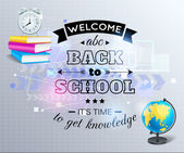 Back to school shining typographical background — Stock Vector