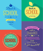 Set of four back to school typographical backgrounds. — Vetorial Stock