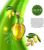 Shining olive background with bottle of olive oil — Vecteur