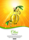 Shining olive background with bottle of olive oil — Stockvector
