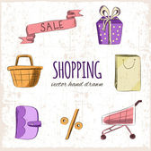 Shopping hand drawn icons — Stock Vector