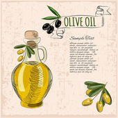Olive oil grunge background — Stock Vector