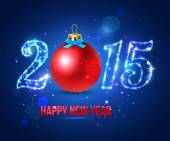 Happy New Year 2015 celebration concept with red ball — Cтоковый вектор