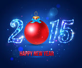 Happy New Year 2015 celebration concept with red ball — Wektor stockowy