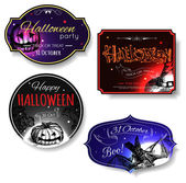 Set of shining halloween typographical banners. — Vector de stock