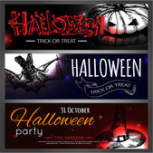 Shining halloween typographical banners — Wektor stockowy