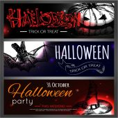 Shining halloween typographical banners — Vector de stock