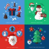 Set of modern style Christmas flat line icons compositions. — Stock Vector