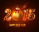 Happy New Year 2015 celebration concept with golden ball — Stockvector