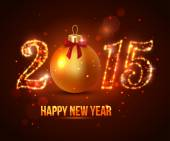Happy New Year 2015 celebration concept with golden ball — Vettoriale Stock