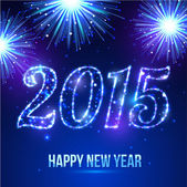 Happy New Year 2015 celebration concept on beautiful fireworks in the night — Stock vektor