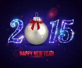Happy New Year 2015 celebration concept with silver ball. — Vetor de Stock