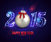 Happy New Year 2015 celebration concept with silver ball. — Stockvector