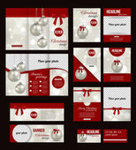 Set of Christmas stationery templates — Stock Vector