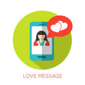 Love message flat concept — Vettoriale Stock