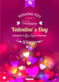Happy valentine's day typografische achtergrond — Stockvector