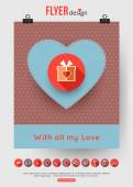 Valentines Day brochure template — Vettoriale Stock