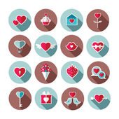 Set of flat valentine's day icons — Stock Vector