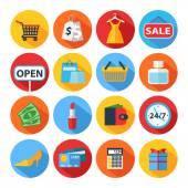 Düz alışveriş simge kümesi — Stok Vektör