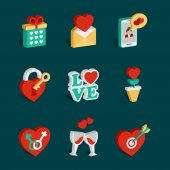 Set of flat valentines day icons — Stock Vector
