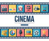 Film strips and cinema icons — Stock Vector