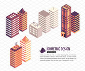 Set of isometric tall buildings — Stock Vector