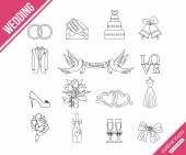 Wedding outline icons — Stock Vector