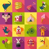 Circus entertainment icons — Stock Vector