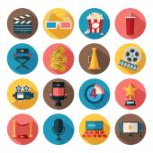 Movie and film icons set — Stock Vector