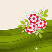Floral wedding background with paper flowers — 图库矢量图片
