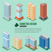 Set of 3d tall buildings icons — Wektor stockowy