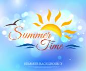 Summer time typographical background — Stock Vector