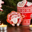Christmas composition with red gingerbread sheep. Year of the Sh — Stock Photo #59706547