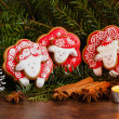 Christmas composition with red gingerbread sheep. Year of the Sh — Stock Photo #59706571