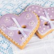 Two purple heart shape gingerbread cookies — Stock Photo #60891565