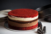 Naked layer cake with red velvet and chocolate biscuit and cream — Stock Photo